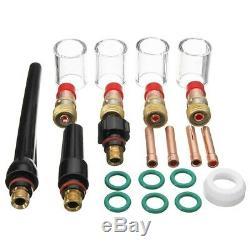 10X23Pcs/Set TIG Welding Kit Torch Gas Lens 10 Pyrex Cup Kit for Tig WP-17 F8G0