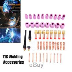 51Pc TIG Welding Torch Gas Lens Spare Parts Pyrex Cup Collet Kit For WP-17/18/26