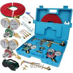 Acetylene Oxygen Torch Gas Welding Cutting Welder Kit with Hose Blue Case