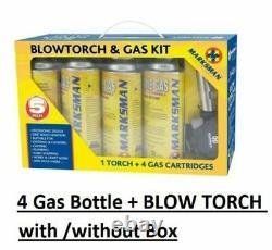 Blow Torch Butane Gas Kit Flamethrower Welding Auto Ignition 4 Bottles Solderin