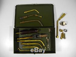 C81/ Vintage Airco/ Prest-O-Lite Gas Welding Torch Set Handle and 8 Att in Box