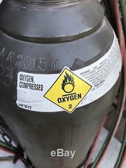 FULL! Oxy Acetylene Gas Cutting Torch, Bottles, Regulators & Cart. Victor Smiths