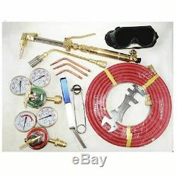 Gas Cutting Torch Welding Torch Kit Tips Goggle Spark Lighter Cleaner Twin Hose