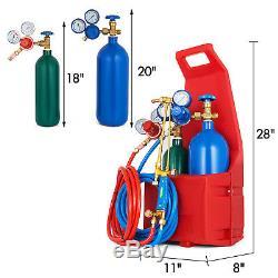 Gas Welding & Cutting Torch Kit 4L Oxygen Tank 2L Acetylene Tank and Regulator