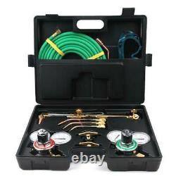 Gas Welding Cutting Welder Kit Oxy Acetylene Oxygen Torch With Hose + Case