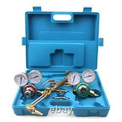 Gas Welding Cutting Welder Kit Oxy Acetylene Oxygen Torch with Blue Carry Case