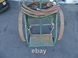 Harper 900 Series Welding Gas Cylinder Cart Metal Wheels Lock Box Cables & Torch