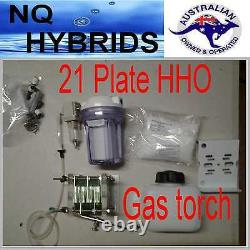 Hho Gas Torch. Hydrogen 21 Plate Generator Powered Kit Diy Self Assemble Cell