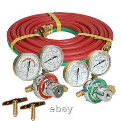 NEW Gas Welding Cutting Welder Kit Oxy Acetylene Oxygen Torch with Hose + Case