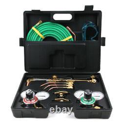New Gas Welding Cutting Kit Oxy Acetylene Oxygen Torch Brazing Fits + Case
