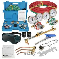 New Gas Welding Cutting Kit Oxy Acetylene Oxygen Torch Brazing w Free 3 Nozzles