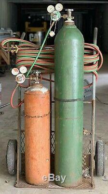 Oxy Oxygen Acetylene Gas Torches, Bottles, Heavy Duty Cart