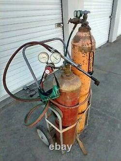 Oxygen Acetylene Welding Torch Kit With Trolley Bottles withGas In Them Hose Torch