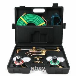 Portable Gas Welding Cutting Welder Kit Oxy Acetylene Oxygen Torch With 15' Hose