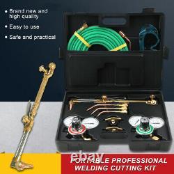 Portable Gas Welding Cutting Welder Kit Oxy Acetylene Oxygen Torch With Hose+Case