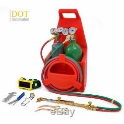Portable Twin Tote Oxygen Acetylene DOT Tank Oxy gas Welding Cutting Weld Torch