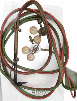 Vintage Harris Cutting Welding Torch Oxygen Acetylene, Hose, Gages