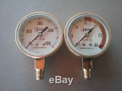 Vintage Victor fuel gas and oxygen 2 1/2 gauges regulator cutting torch