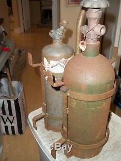 Vintage Welders Cutting Torch Tank & Tote Set 10 Cf Acetyline Gas & 20 Cf Oxygen