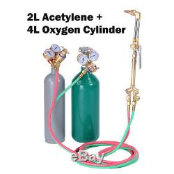 Welding & Cutting Torch Gun Kit Brazing Oxygen Acetylene Gas Refillable Tanks