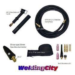WeldingCity Gas-thru Dinse-rear TIG Welding Torch WP-17 150A 12.5-ft US Seller