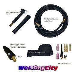 WeldingCity Gas-thru Dinse-rear TIG Welding Torch WP-17 150A 25-ft US Seller