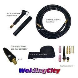 WeldingCity Gas-thru Dinse-rear TIG Welding Torch WP-17F Flex-head 150A 25-ft