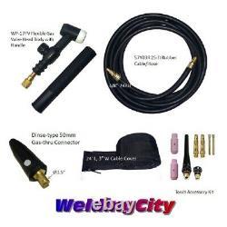 WeldingCity Gas-thru Dinse-rear TIG Welding Torch WP-17FV Flex-Valve 150A 25-ft