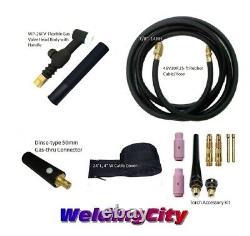 WeldingCity Gas-thru Dinse-rear TIG Welding Torch WP-26FV Flex-Valve 200A 25-ft